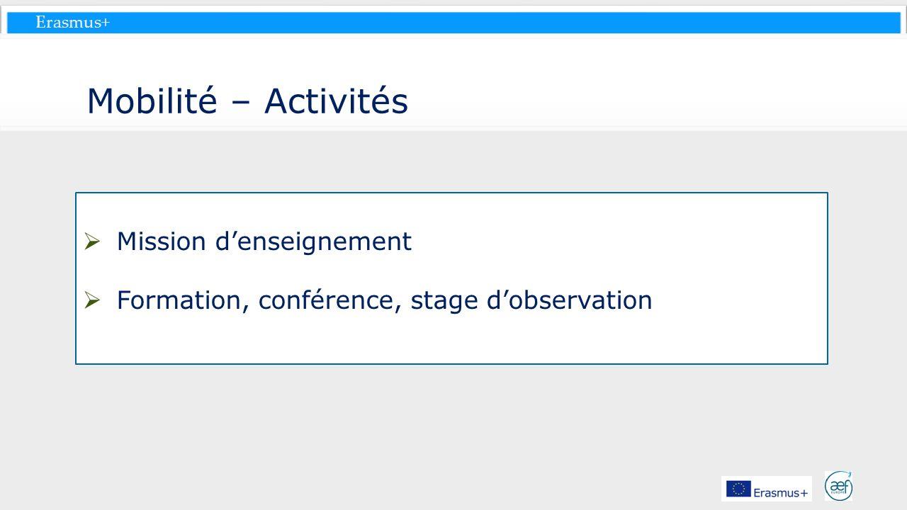 Erasmus+ Mobilité – Activités Mission denseignement Formation, conférence, stage dobservation