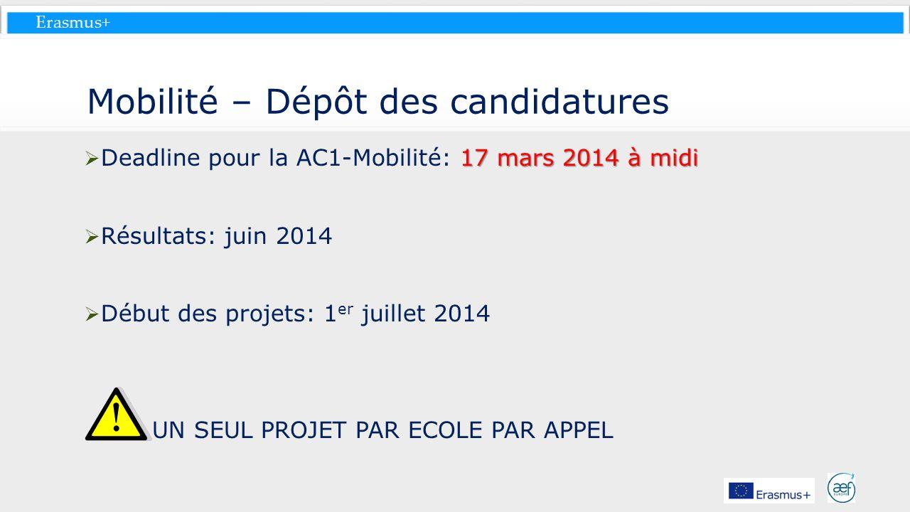Erasmus+ Mobilité – Dépôt des candidatures 17 mars 2014 à midi Deadline pour la AC1-Mobilité: 17 mars 2014 à midi Résultats: juin 2014 Début des proje