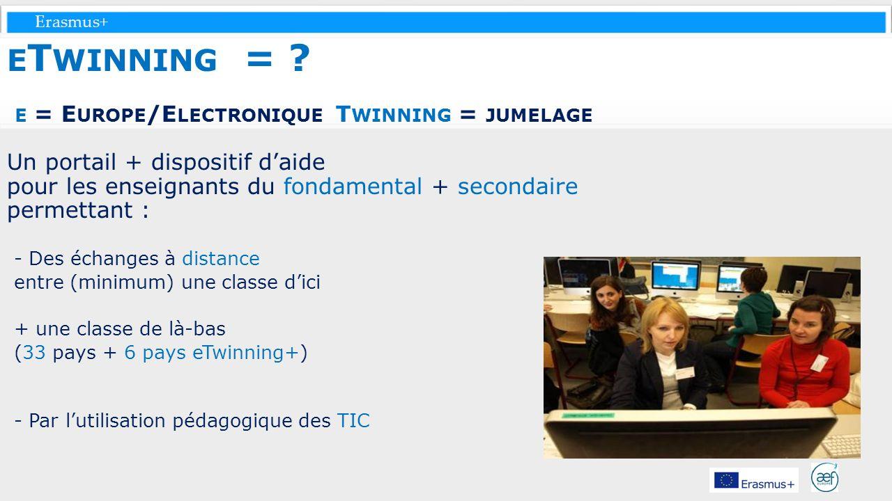 Erasmus+ E T WINNING = ? E = E UROPE /E LECTRONIQUE T WINNING = JUMELAGE Un portail + dispositif daide pour les enseignants du fondamental + secondair