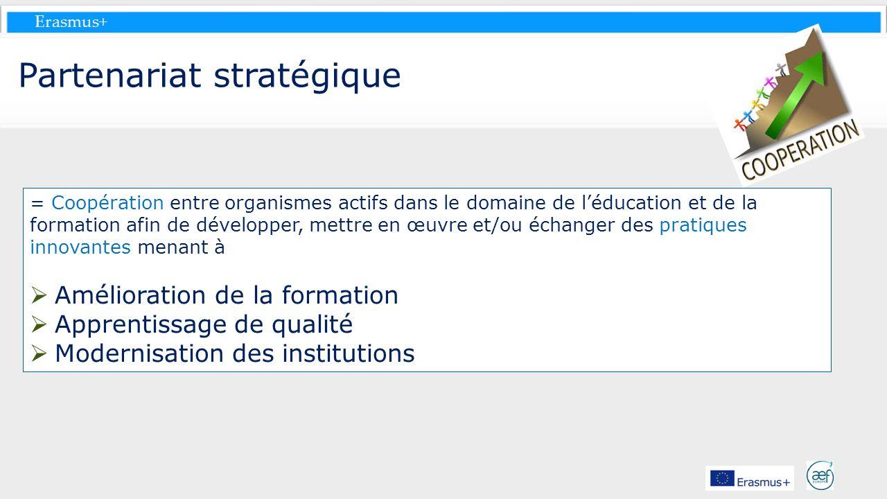Erasmus+ Partenariat stratégique = Coopération entre organismes actifs dans le domaine de léducation et de la formation afin de développer, mettre en