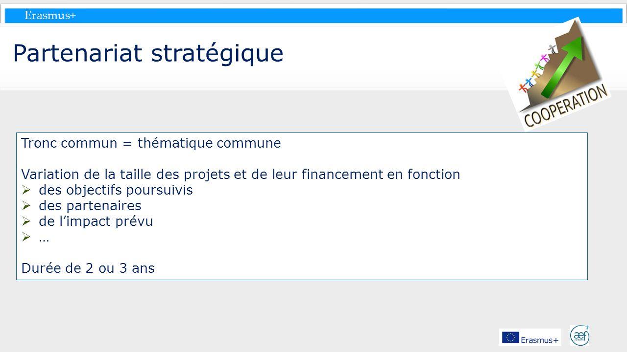 Erasmus+ Partenariat stratégique Tronc commun = thématique commune Variation de la taille des projets et de leur financement en fonction des objectifs