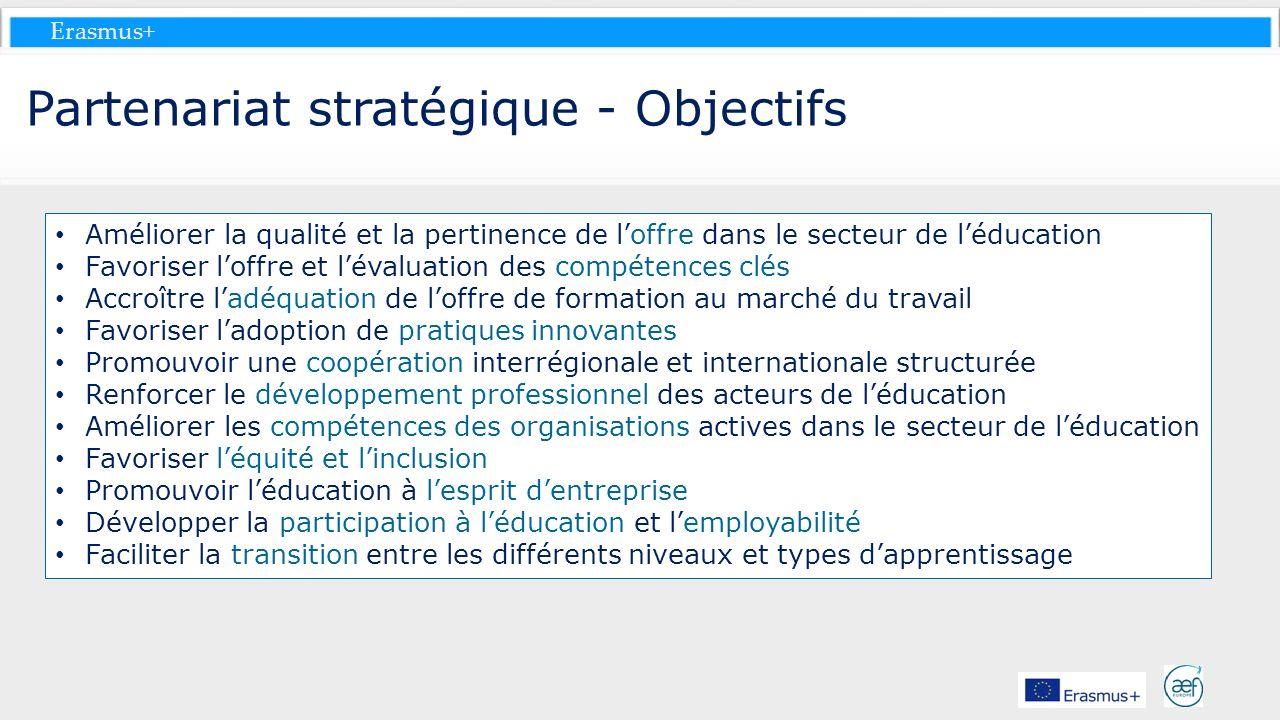 Erasmus+ Partenariat stratégique - Objectifs Améliorer la qualité et la pertinence de loffre dans le secteur de léducation Favoriser loffre et lévalua