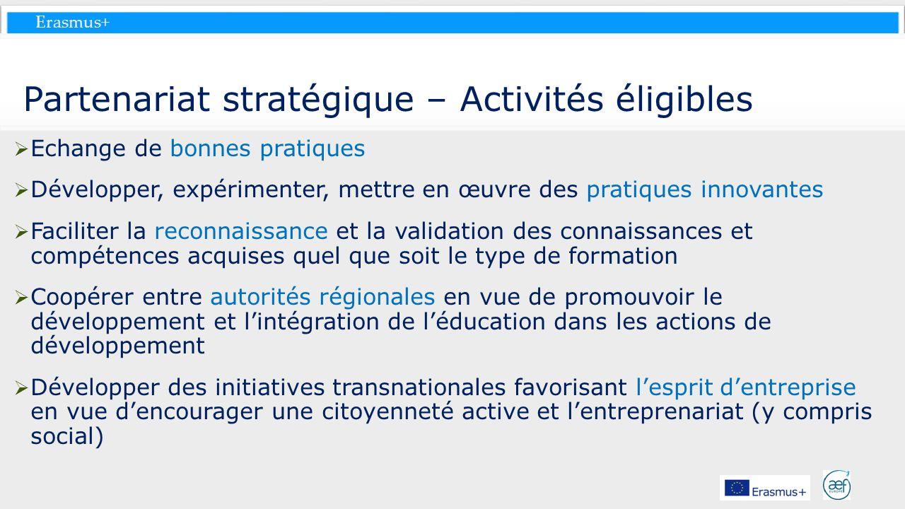 Erasmus+ Partenariat stratégique – Activités éligibles Echange de bonnes pratiques Développer, expérimenter, mettre en œuvre des pratiques innovantes