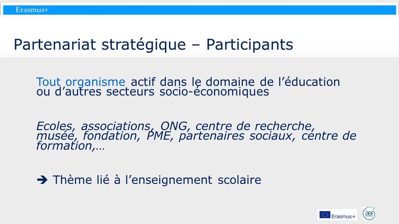 Erasmus+ Partenariat stratégique – Participants Tout organisme actif dans le domaine de léducation ou dautres secteurs socio-économiques Ecoles, assoc