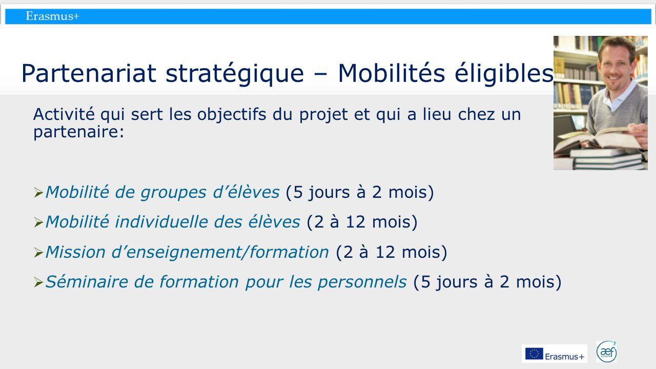 Erasmus+ Partenariat stratégique – Mobilités éligibles Activité qui sert les objectifs du projet et qui a lieu chez un partenaire: Mobilité de groupes