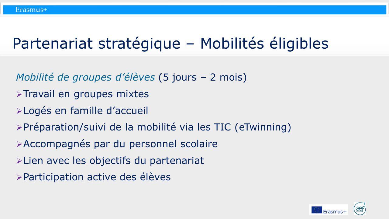 Erasmus+ Partenariat stratégique – Mobilités éligibles Mobilité de groupes délèves (5 jours – 2 mois) Travail en groupes mixtes Logés en famille daccu