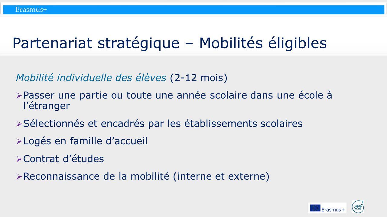 Erasmus+ Partenariat stratégique – Mobilités éligibles Mobilité individuelle des élèves (2-12 mois) Passer une partie ou toute une année scolaire dans