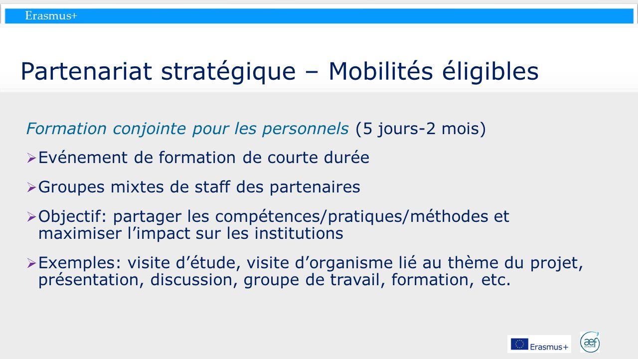 Erasmus+ Partenariat stratégique – Mobilités éligibles Formation conjointe pour les personnels (5 jours-2 mois) Evénement de formation de courte durée