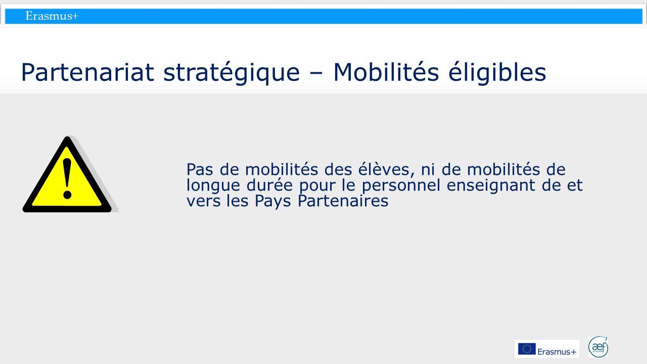 Erasmus+ Partenariat stratégique – Mobilités éligibles Pas de mobilités des élèves, ni de mobilités de longue durée pour le personnel enseignant de et