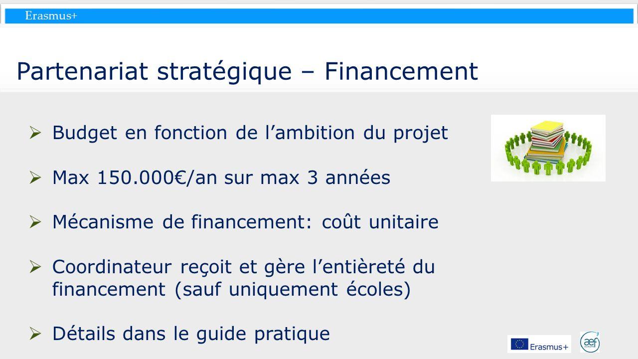 Erasmus+ Partenariat stratégique – Financement Budget en fonction de lambition du projet Max 150.000/an sur max 3 années Mécanisme de financement: coû