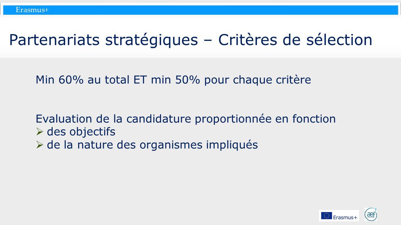 Erasmus+ Partenariats stratégiques – Critères de sélection Min 60% au total ET min 50% pour chaque critère Evaluation de la candidature proportionnée