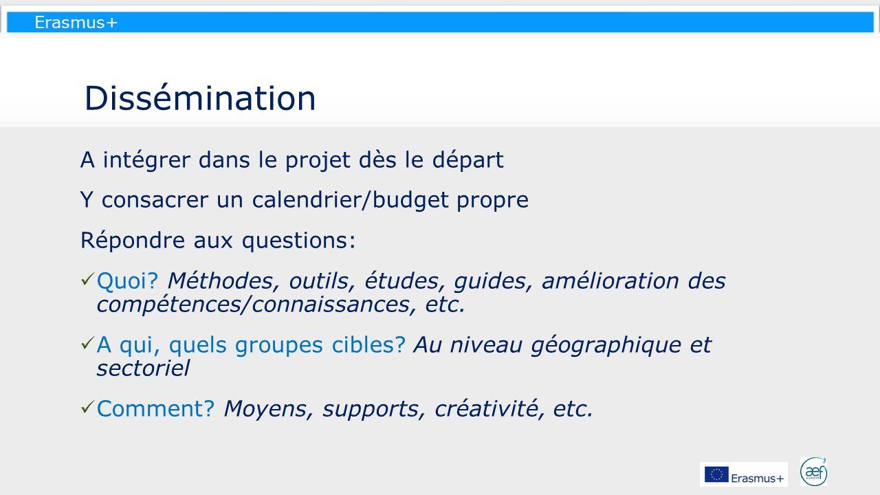 Erasmus+ Dissémination A intégrer dans le projet dès le départ Y consacrer un calendrier/budget propre Répondre aux questions: Quoi? Méthodes, outils,