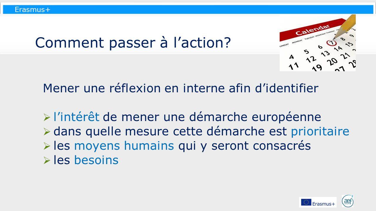 Erasmus+ Comment passer à laction? Mener une réflexion en interne afin didentifier lintérêt de mener une démarche européenne dans quelle mesure cette