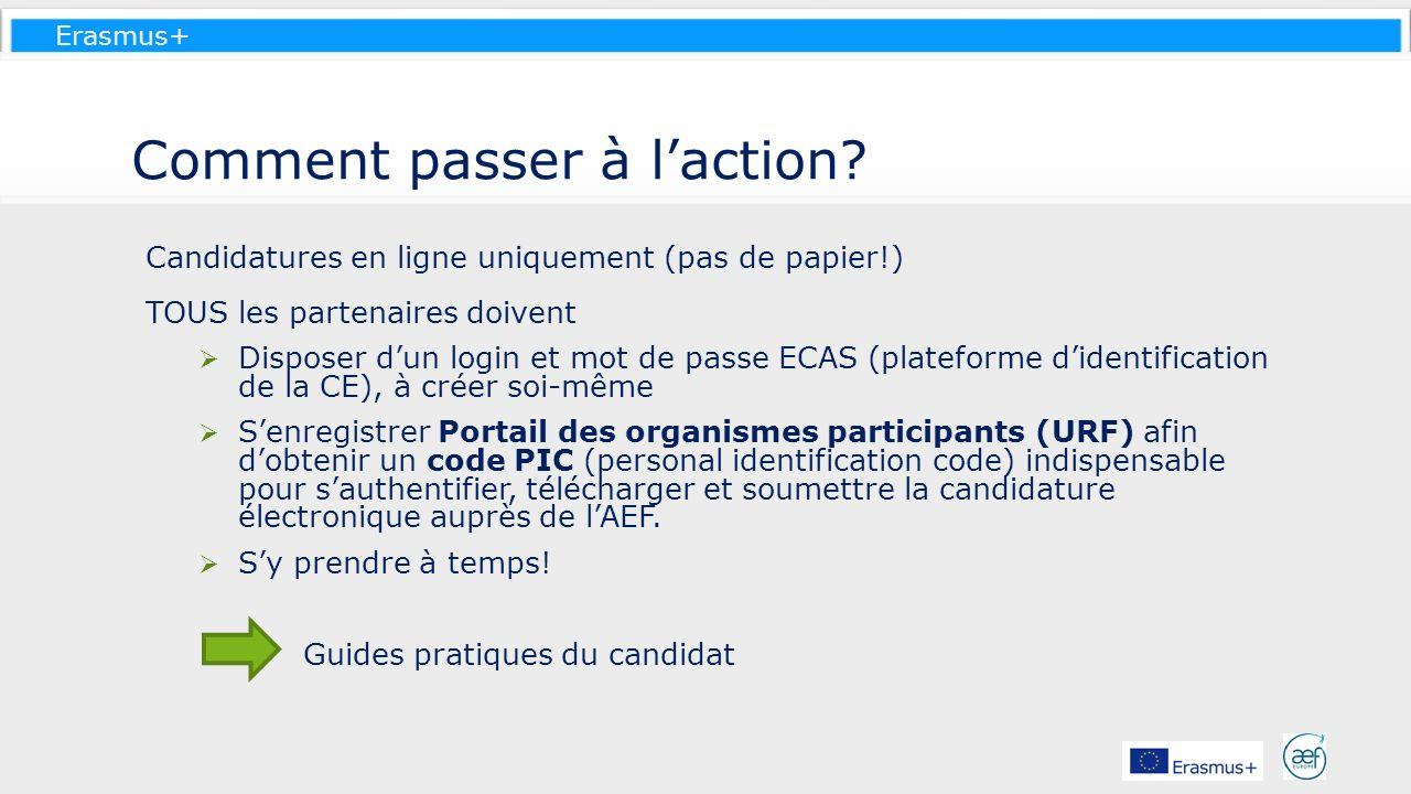 Erasmus+ Comment passer à laction? Candidatures en ligne uniquement (pas de papier!) TOUS les partenaires doivent Disposer dun login et mot de passe E