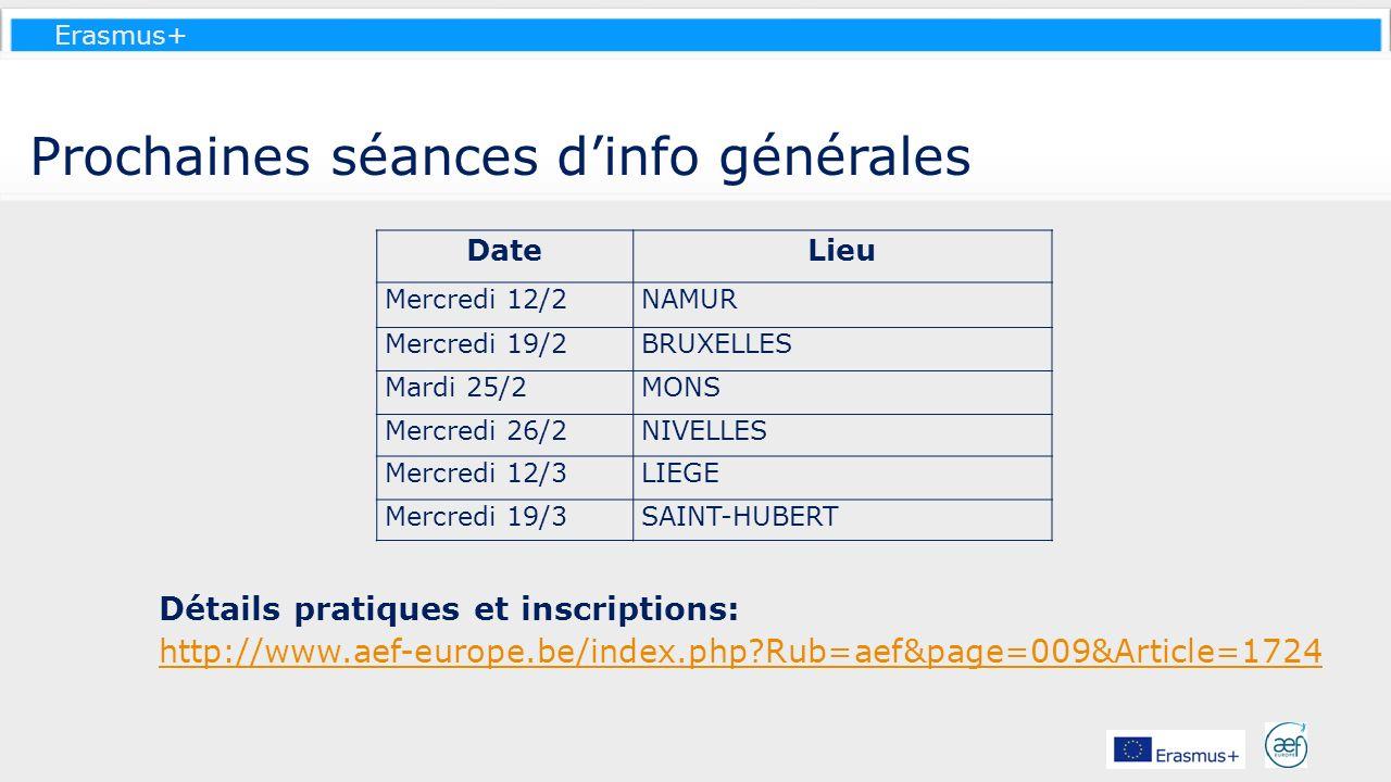 Erasmus+ Prochaines séances dinfo générales DateLieu Mercredi 12/2NAMUR Mercredi 19/2BRUXELLES Mardi 25/2MONS Mercredi 26/2NIVELLES Mercredi 12/3LIEGE