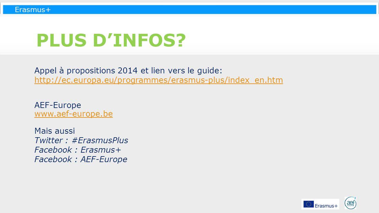 Erasmus+ PLUS DINFOS? Appel à propositions 2014 et lien vers le guide: http://ec.europa.eu/programmes/erasmus-plus/index_en.htm AEF-Europe www.aef-eur