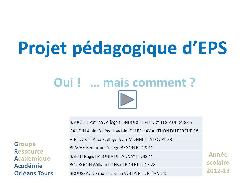 Projet pédagogique dEPS Oui ! … mais comment ? Groupe Ressource Académique Académie Orléans Tours Année scolaire 2012-13 BAUCHET Patrice Collège CONDO