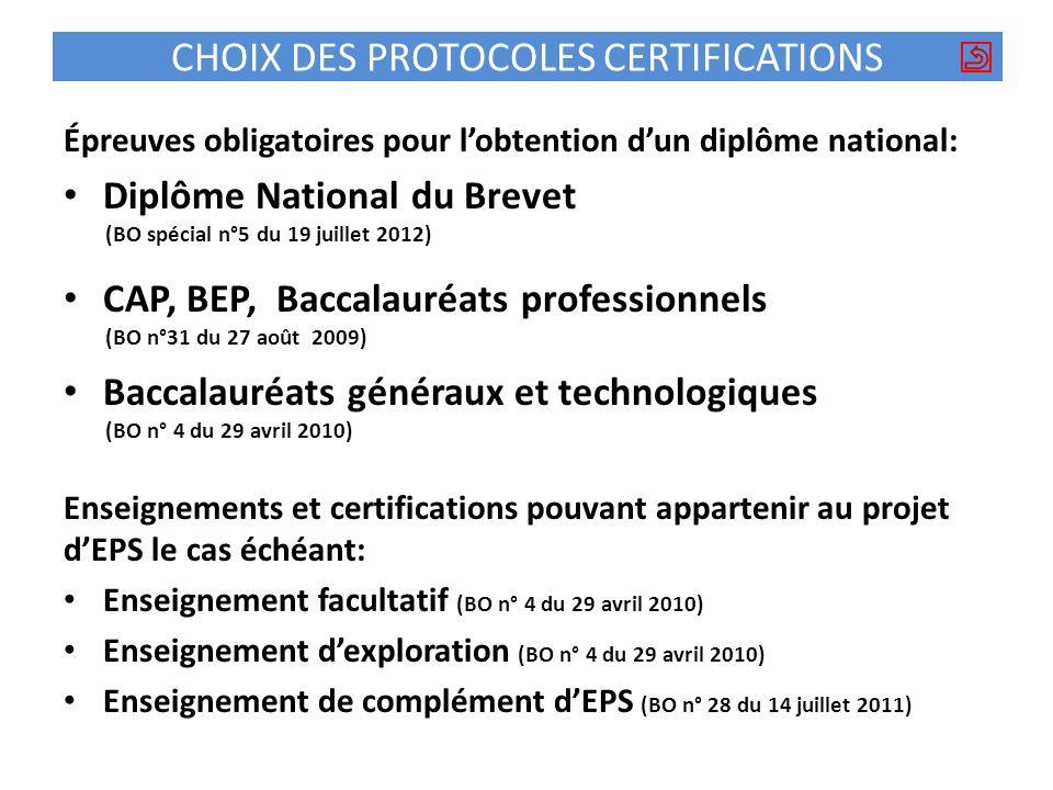 CHOIX DES PROTOCOLES CERTIFICATIONS Épreuves obligatoires pour lobtention dun diplôme national: Diplôme National du Brevet (BO spécial n°5 du 19 juill
