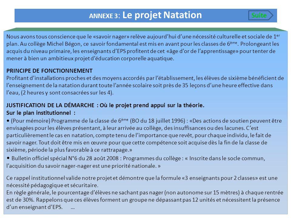 ANNEXE 3 : Le projet Natation Nous avons tous conscience que le «savoir nager» relève aujourdhui dune nécessité culturelle et sociale de 1 er plan. Au