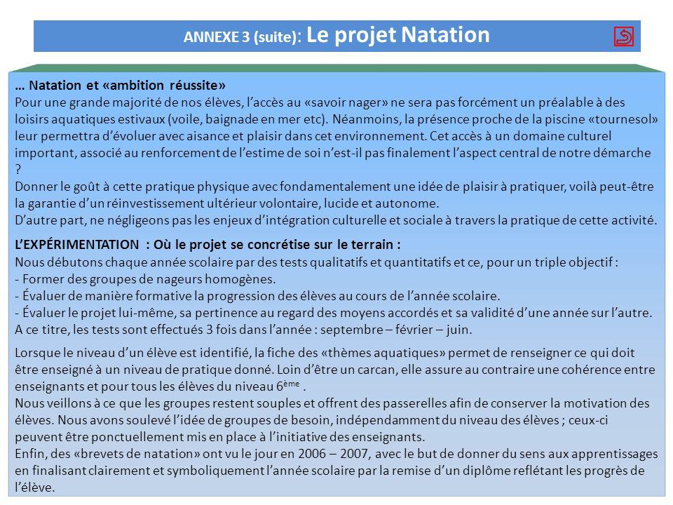 ANNEXE 3 (suite) : Le projet Natation … Natation et «ambition réussite» Pour une grande majorité de nos élèves, laccès au «savoir nager» ne sera pas f