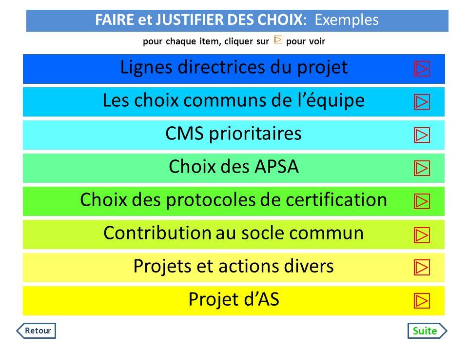 pour chaque item, cliquer sur pour voir Lignes directrices du projet CMS prioritaires Choix des APSA Contribution au socle commun Choix des protocoles