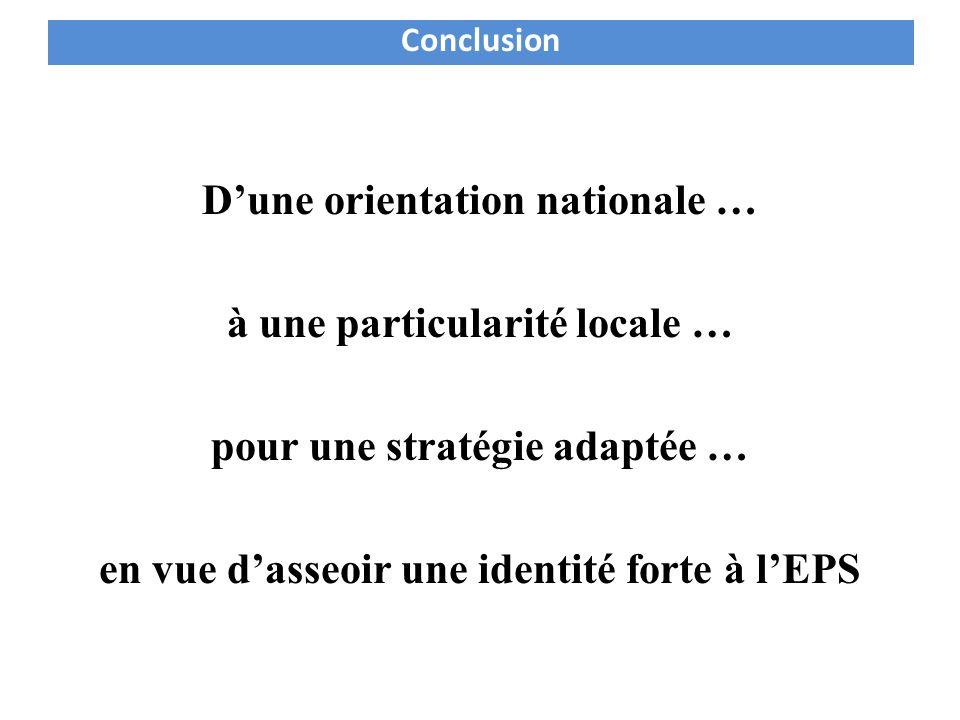 Dune orientation nationale … à une particularité locale … pour une stratégie adaptée … en vue dasseoir une identité forte à lEPS Conclusion