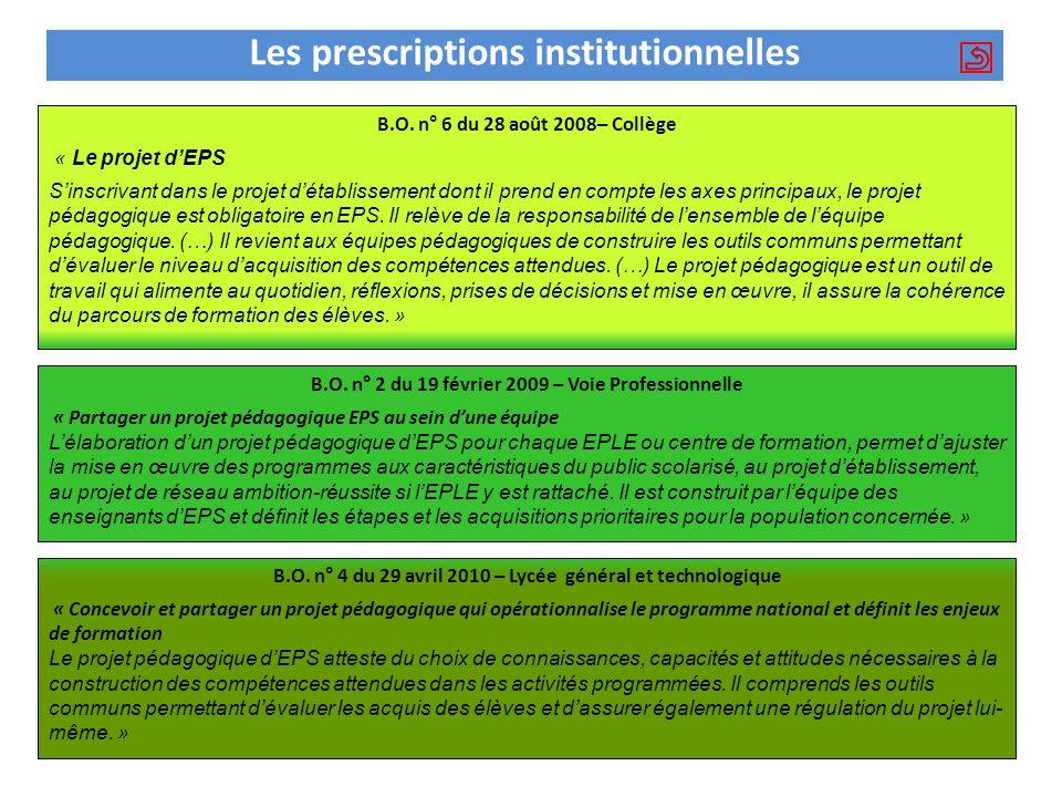 Les prescriptions institutionnelles B.O. n° 2 du 19 février 2009 – Voie Professionnelle « Partager un projet pédagogique EPS au sein dune équipe Lélab