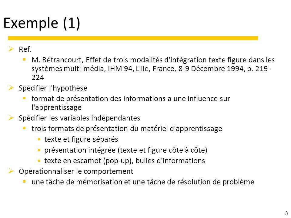 3 Exemple (1) Ref. M. Bétrancourt, Effet de trois modalités d'intégration texte figure dans les systèmes multi-média, IHM'94, Lille, France, 8-9 Décem