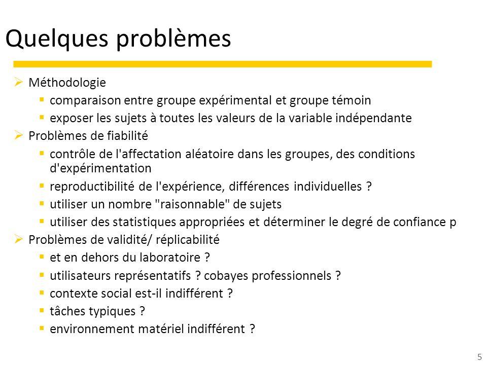 5 Quelques problèmes Méthodologie comparaison entre groupe expérimental et groupe témoin exposer les sujets à toutes les valeurs de la variable indépe