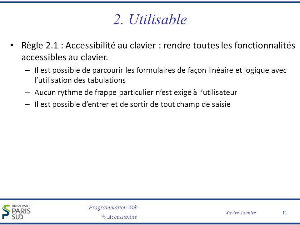 Programmation Web Accessibilité Xavier Tannier 2. Utilisable Règle 2.1 : Accessibilité au clavier : rendre toutes les fonctionnalités accessibles au c