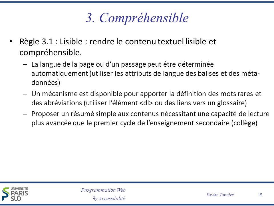 Programmation Web Accessibilité Xavier Tannier 3. Compréhensible Règle 3.1 : Lisible : rendre le contenu textuel lisible et compréhensible. – La langu