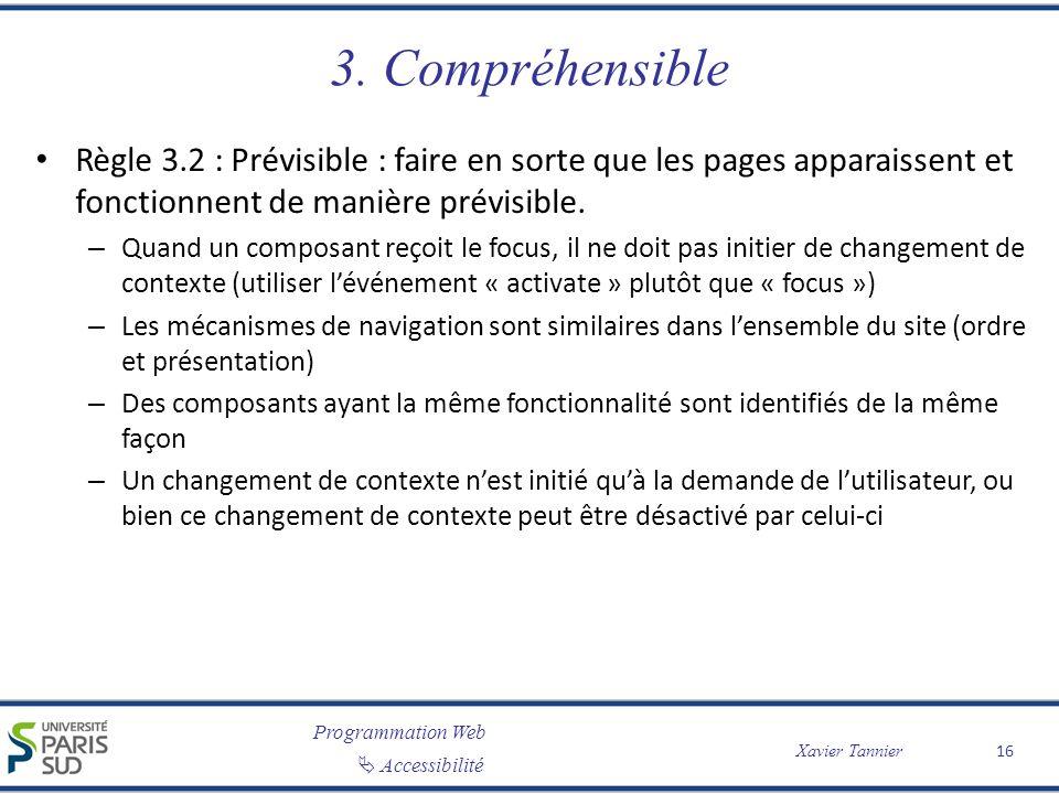 Programmation Web Accessibilité Xavier Tannier 3. Compréhensible Règle 3.2 : Prévisible : faire en sorte que les pages apparaissent et fonctionnent de