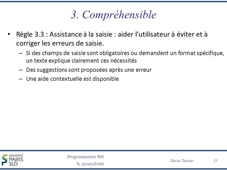 Programmation Web Accessibilité Xavier Tannier 3. Compréhensible Règle 3.3 : Assistance à la saisie : aider l'utilisateur à éviter et à corriger les e