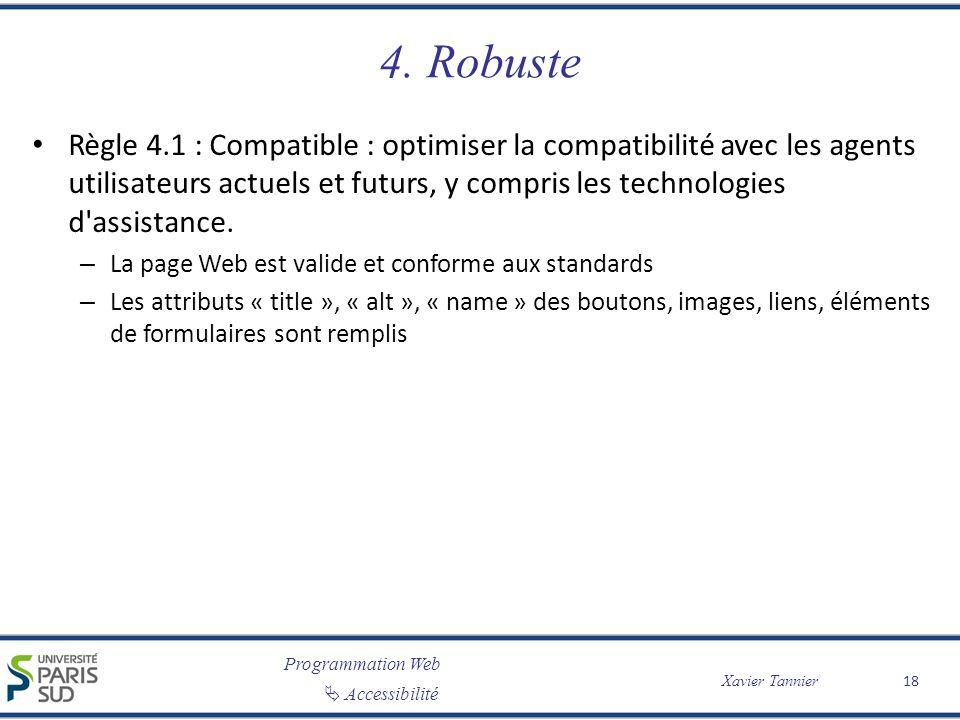 Programmation Web Accessibilité Xavier Tannier 4. Robuste Règle 4.1 : Compatible : optimiser la compatibilité avec les agents utilisateurs actuels et