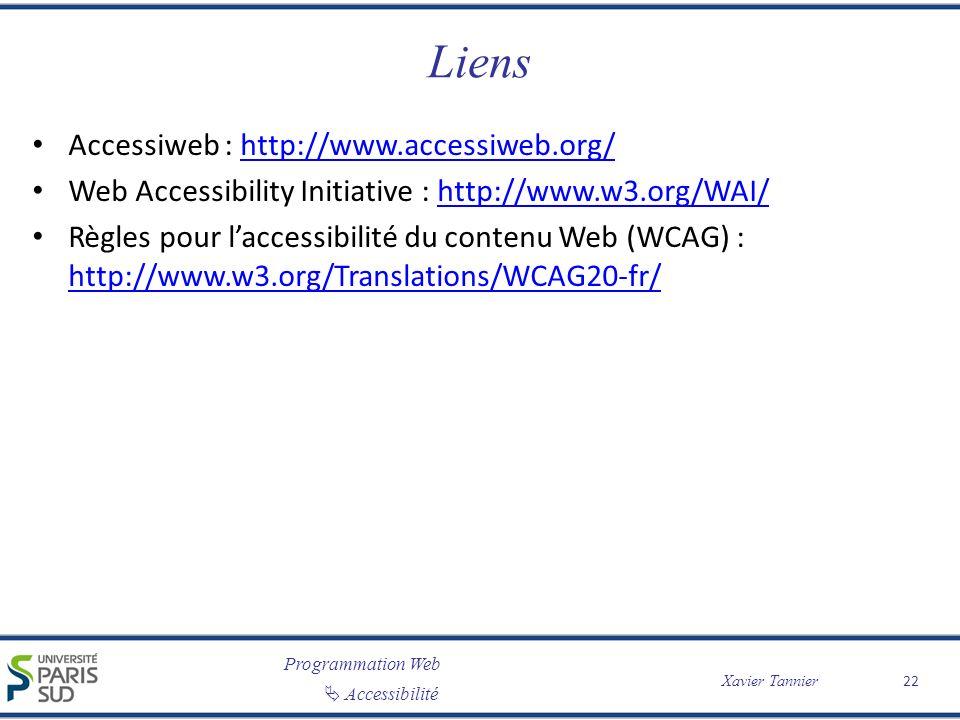 Programmation Web Accessibilité Xavier Tannier Liens Accessiweb : http://www.accessiweb.org/http://www.accessiweb.org/ Web Accessibility Initiative :