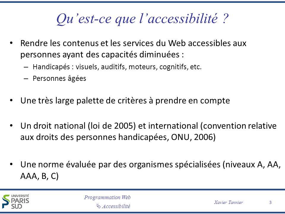 Programmation Web Accessibilité Xavier Tannier Quest-ce que laccessibilité ? Rendre les contenus et les services du Web accessibles aux personnes ayan