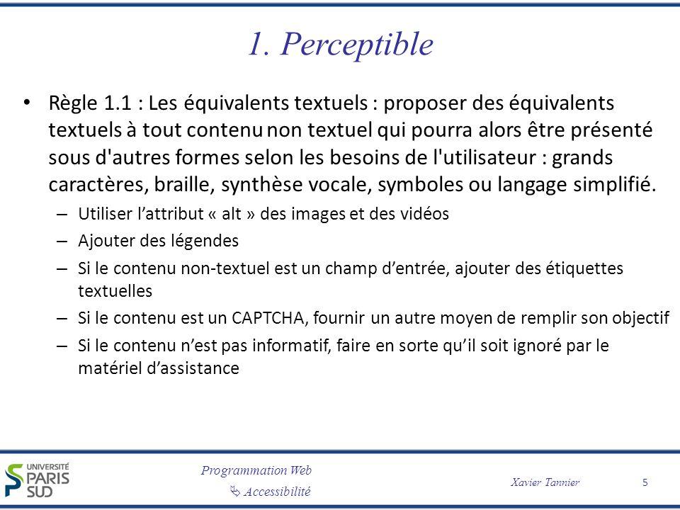 Programmation Web Accessibilité Xavier Tannier 1. Perceptible Règle 1.1 : Les équivalents textuels : proposer des équivalents textuels à tout contenu