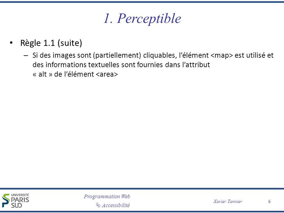 Programmation Web Accessibilité Xavier Tannier 1. Perceptible Règle 1.1 (suite) – Si des images sont (partiellement) cliquables, lélément est utilisé