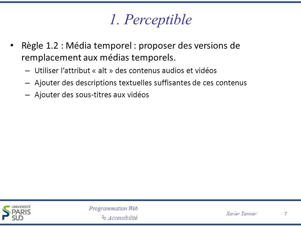 Programmation Web Accessibilité Xavier Tannier 1. Perceptible Règle 1.2 : Média temporel : proposer des versions de remplacement aux médias temporels.