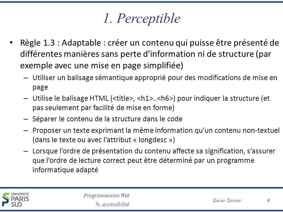 Programmation Web Accessibilité Xavier Tannier 1. Perceptible Règle 1.3 : Adaptable : créer un contenu qui puisse être présenté de différentes manière
