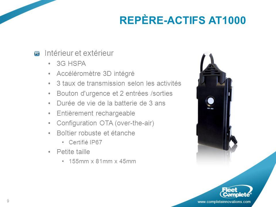 www.completeinnovations.com REPÈRE-ACTIFS AT1000 Intérieur et extérieur 3G HSPA Accéléromètre 3D intégré 3 taux de transmission selon les activités Bouton d urgence et 2 entrées /sorties Durée de vie de la batterie de 3 ans Entièrement rechargeable Configuration OTA (over-the-air) Boîtier robuste et étanche Certifié IP67 Petite taille 155mm x 81mm x 45mm 9