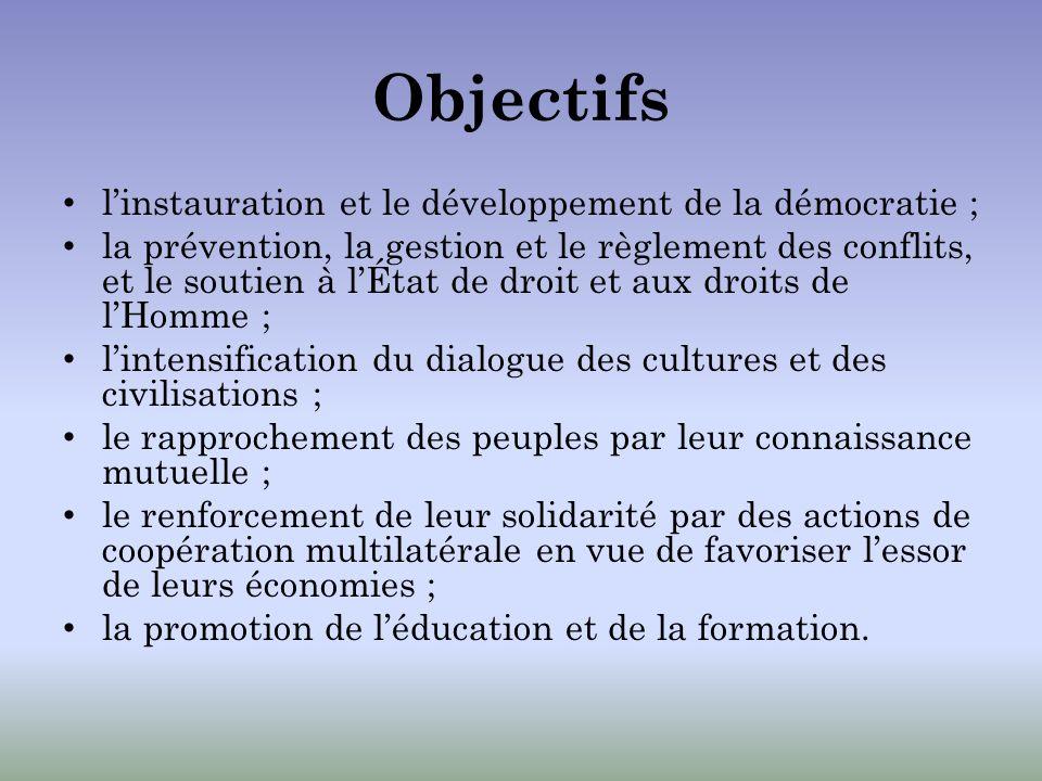 Objectifs linstauration et le développement de la démocratie ; la prévention, la gestion et le règlement des conflits, et le soutien à lÉtat de droit