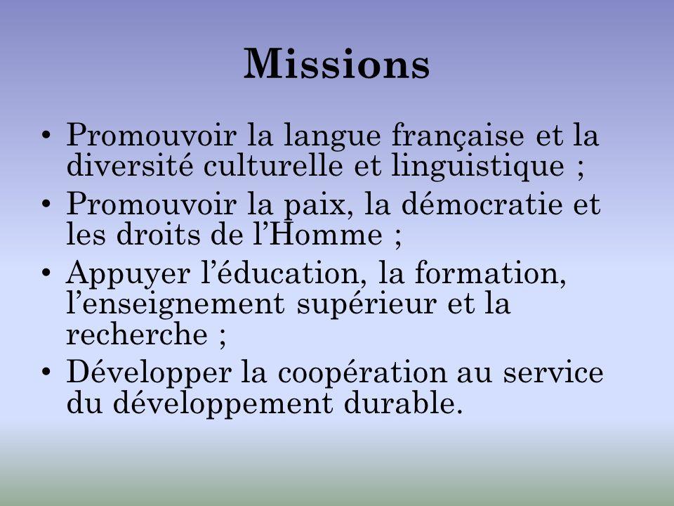 Missions Promouvoir la langue française et la diversité culturelle et linguistique ; Promouvoir la paix, la démocratie et les droits de lHomme ; Appuy