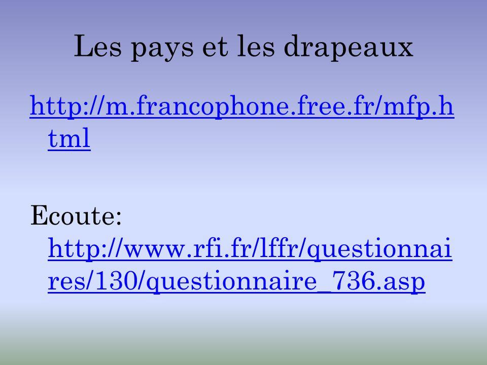 Les pays et les drapeaux http://m.francophone.free.fr/mfp.h tml Ecoute: http://www.rfi.fr/lffr/questionnai res/130/questionnaire_736.asp http://www.rf