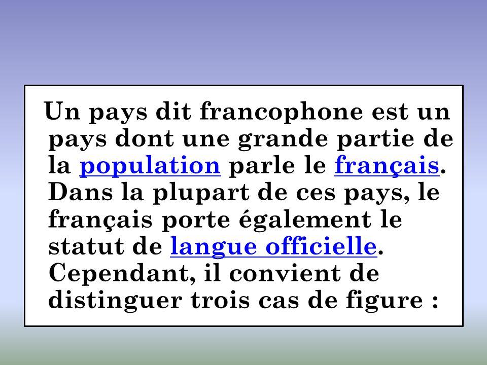 Un pays dit francophone est un pays dont une grande partie de la population parle le français. Dans la plupart de ces pays, le français porte égalemen