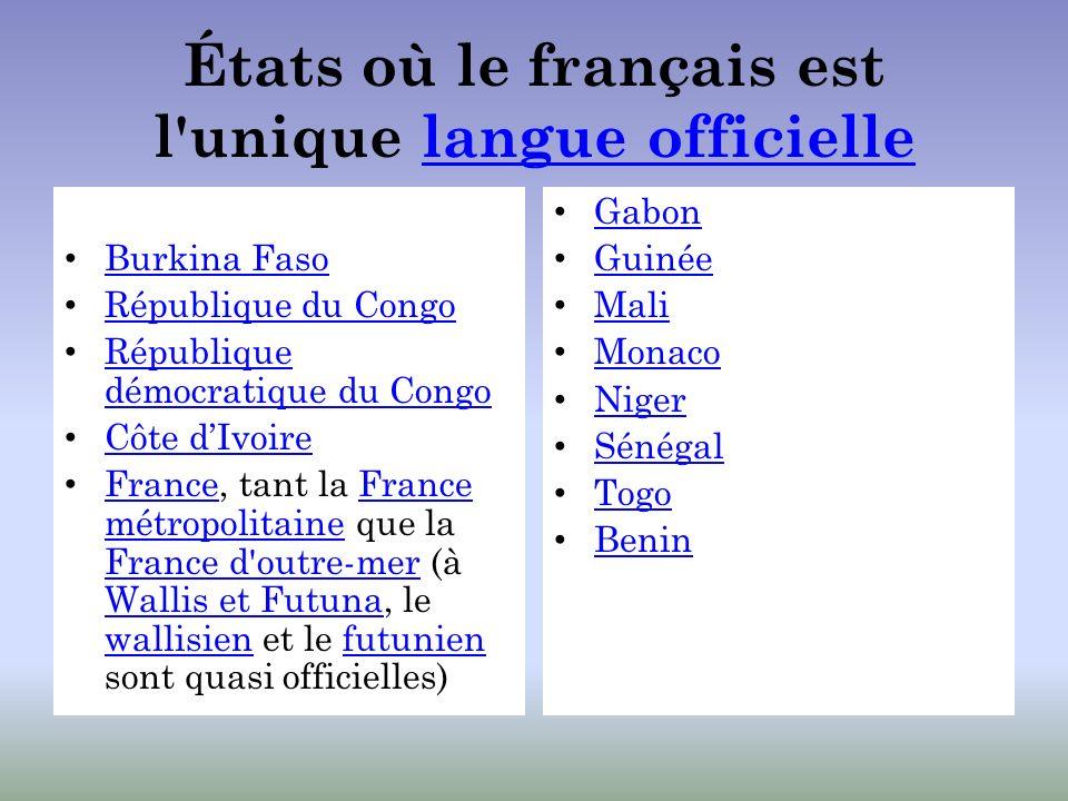 États où le français est l'unique langue officiellelangue officielle Burkina Faso République du Congo République démocratique du Congo République démo