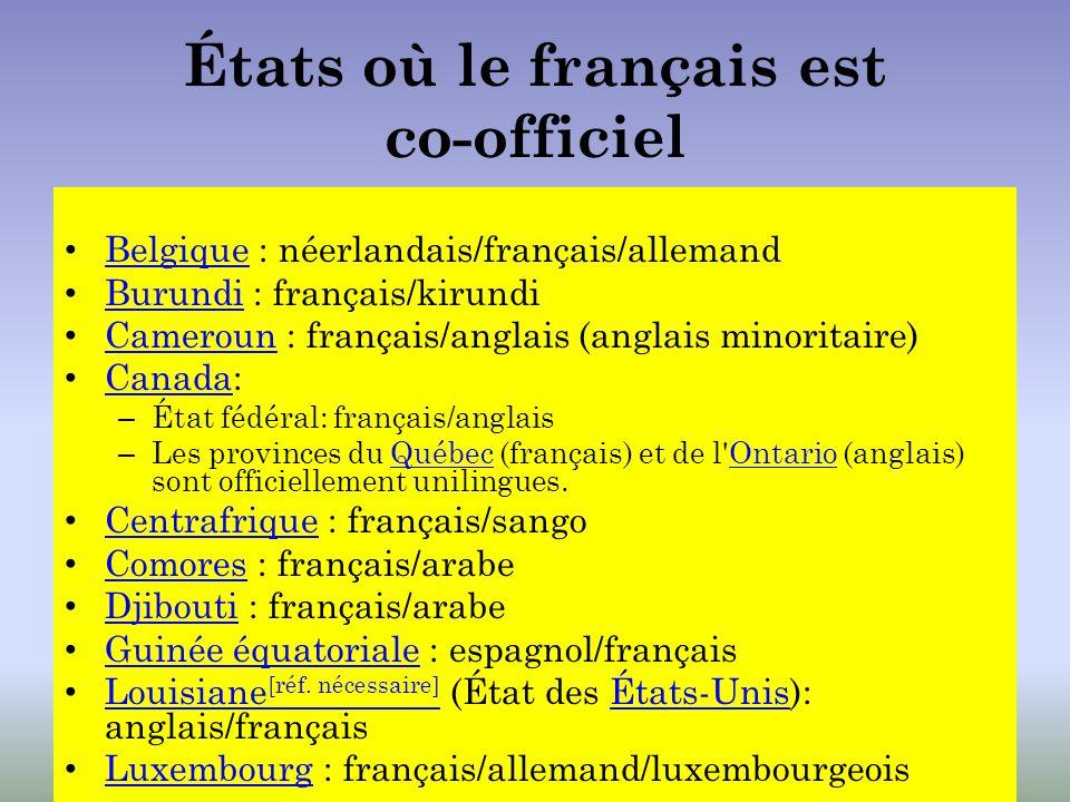 États où le français est co-officiel Belgique : néerlandais/français/allemand Belgique Burundi : français/kirundi Burundi Cameroun : français/anglais
