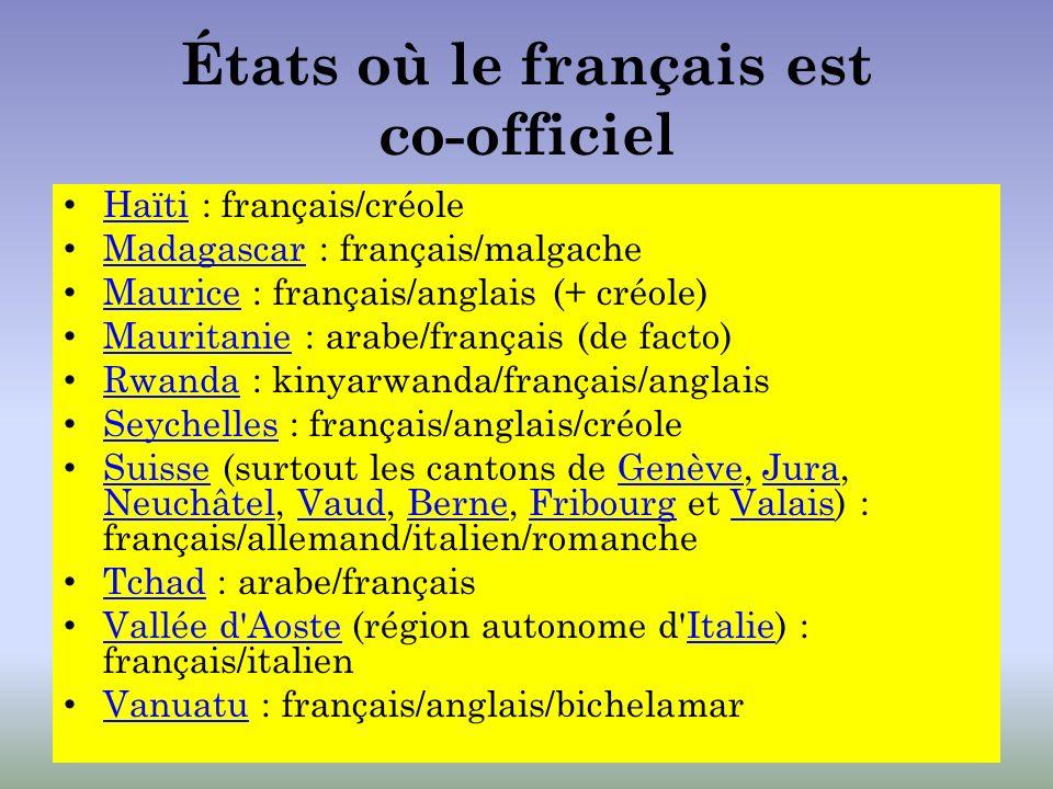 États où le français est co-officiel Haïti : français/créole Haïti Madagascar : français/malgache Madagascar Maurice : français/anglais (+ créole) Mau
