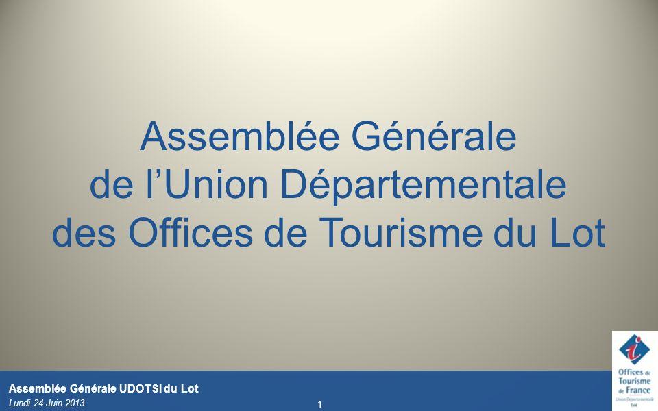 Lundi 24 Juin 2013 1 Assemblée Générale UDOTSI du Lot Assemblée Générale de lUnion Départementale des Offices de Tourisme du Lot