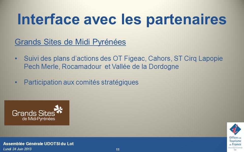 Interface avec les partenaires Grands Sites de Midi Pyrénées Suivi des plans dactions des OT Figeac, Cahors, ST Cirq Lapopie Pech Merle, Rocamadour et